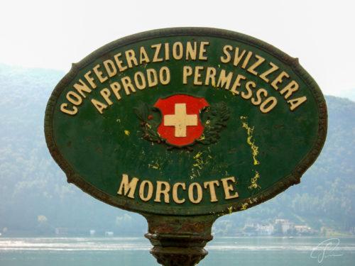 Offizielles ovales altes Schild der Gemeinde Morcote am Luganer See
